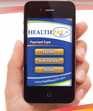 a healthcare payment screen as seen on a smart phone
